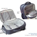 Wheeled carry-on backpack interior