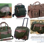 Collection of canvas and leather bags and wheeled luggage
